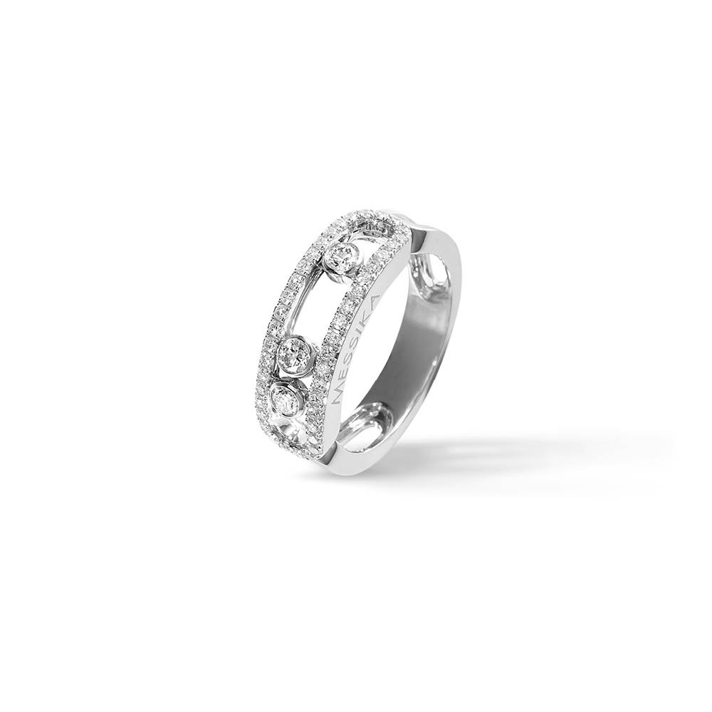 Messika Move Classic Pavee Ring in White Gold